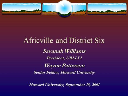 Africville and District Six