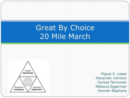 Miguel A. Lopez Alexander Johnson Carissa Tarnowski Rebecca Eggerman Hannah Stephens Great By Choice 20 Mile March.