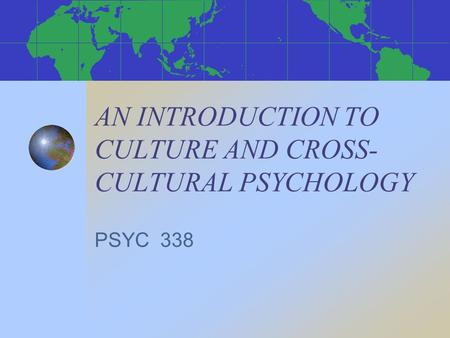 introduction to cross cultural psych
