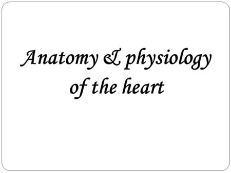 Anatomy & physiology of the heart. Heart Anatomy Size, Location, and Orientation Enclosed in the mediastinum Base (posteriorsuperior portion) and.
