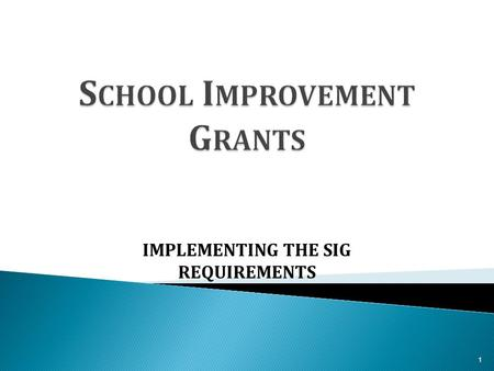 IMPLEMENTING THE SIG REQUIREMENTS 1.  Students who attend a State's persistently lowest- achieving schools deserve better options and can't afford to.