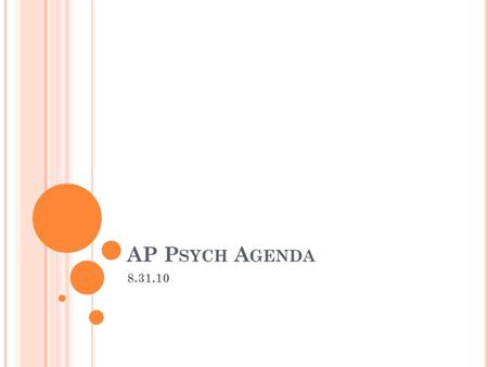 AP P SYCH A GENDA 8.31.10. A GENDA : Discuss/collect homework Hysteria Adult ADHD Penis envy Narcissistic Personality Disorder Dissociative Identity Disorder.