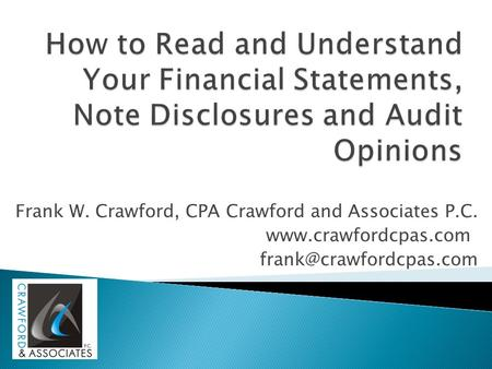Frank W. Crawford, CPA Crawford and Associates P.C.
