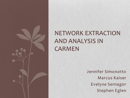 Jennifer Simonotto Marcus Kaiser Evelyne Sernagor Stephen Eglen NETWORK EXTRACTION AND ANALYSIS IN CARMEN.