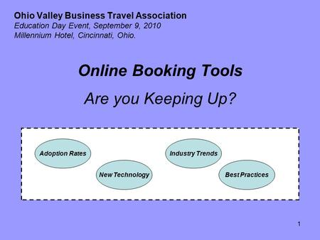 1 Ohio Valley Business Travel Association Education Day Event, September 9, 2010 Millennium Hotel, Cincinnati, Ohio. Online Booking Tools Are you Keeping.