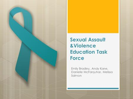 Sexual Assault &Violence Education Task Force Emily Bradley, Andy Kane, Danielle McFarquhar, Melissa Salmon.