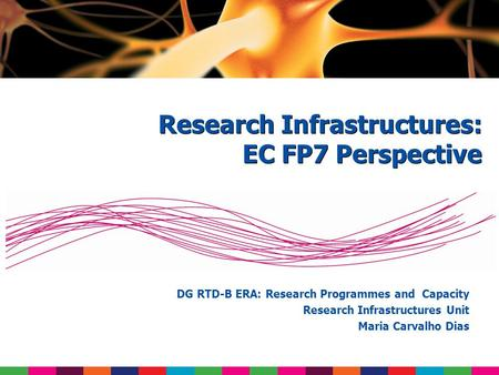 DG RTD-B ERA: Research Programmes and Capacity Research Infrastructures Unit Maria Carvalho Dias Research Infrastructures: EC FP7 Perspective.