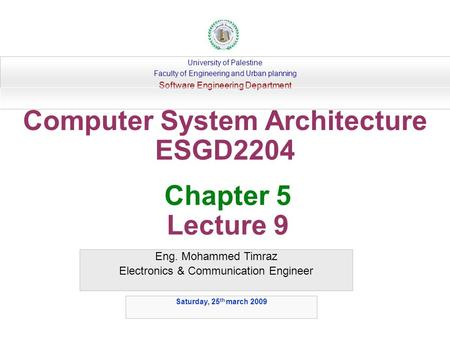 Computer System Architecture ESGD2204