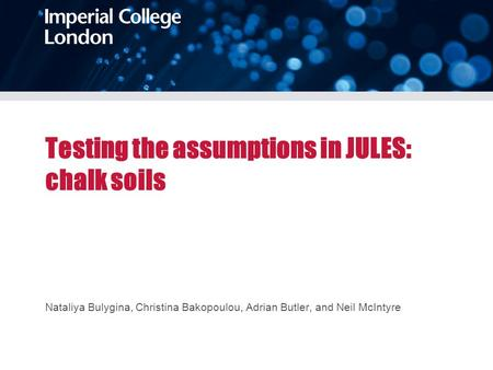 Testing the assumptions in JULES: chalk soils Nataliya Bulygina, Christina Bakopoulou, Adrian Butler, and Neil McIntyre.