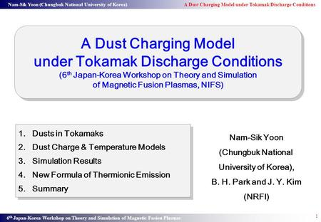 Nam-Sik Yoon (Chungbuk National University of Korea) A Dust Charging Model under Tokamak Discharge Conditions 6 th Japan-Korea Workshop on Theory and Simulation.