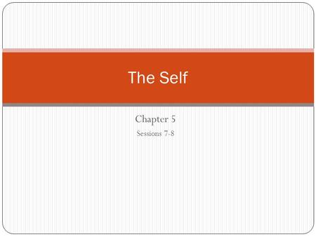 The Self Chapter 5 Sessions 7-8.