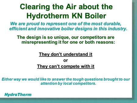 Clearing the Air about the Hydrotherm KN Boiler