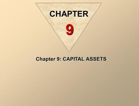 Chapter 9: CAPITAL ASSETS CHAPTER 9. Intangible assets are capital assets, which are not tangible. Just like equipments, intangible assets also benefit.