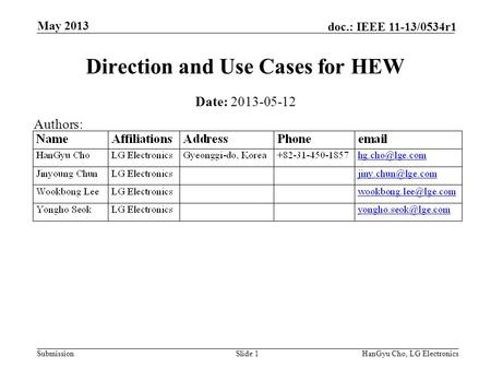 Submission doc.: IEEE 11-13/0534r1 May 2013 HanGyu Cho, LG ElectronicsSlide 1 Direction and Use Cases for HEW Date: 2013-05-12 Authors: