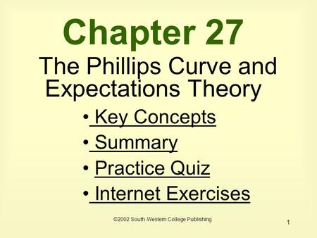 1 Chapter 27 The Phillips Curve and Expectations Theory Key Concepts Key Concepts Summary Practice Quiz Internet Exercises Internet Exercises ©2002 South-Western.