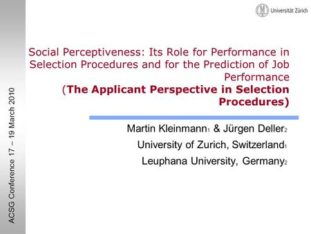 Social Perceptiveness: Its Role for Performance in Selection Procedures and for the Prediction of Job Performance (The Applicant Perspective in Selection.
