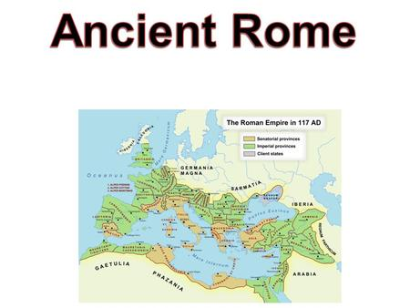 I. Geography A. Located on a Peninsula B. Rivers, hills, and fertile soil C. Italy was in the center of the Mediterranean Sea D. Rome was in central.