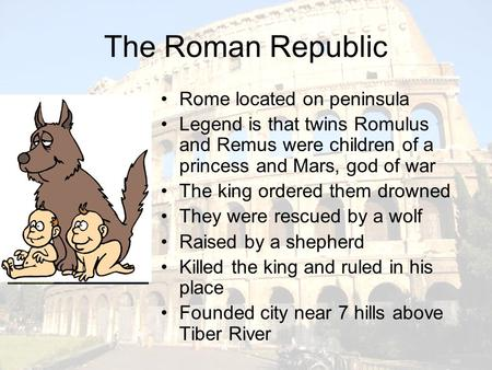 an introduction to the rome origin story romulous and remus Rome required a great foundation story foundation story, and the legend of romulus and remus effectively and is an assistant editor at made from history.
