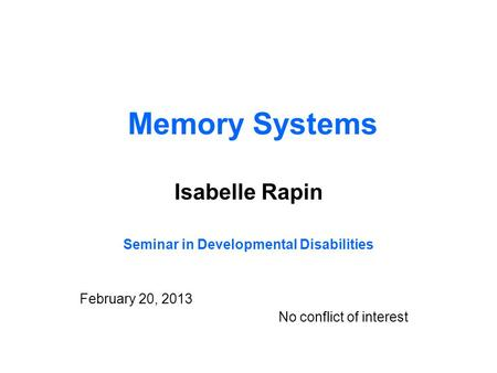 Seminar in Developmental Disabilities