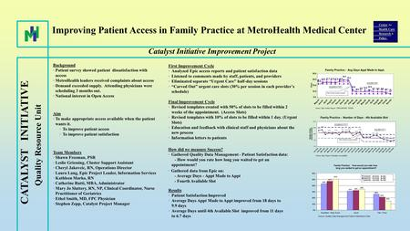 Improving Patient Access in Family Practice at MetroHealth Medical Center Catalyst Initiative Improvement Project Background Patient survey showed patient.