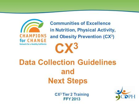 Communities of Excellence in Nutrition, Physical Activity, and Obesity Prevention (CX 3 ) Data Collection Guidelines and Next Steps CX 3 CX 3 Tier 2 Training.