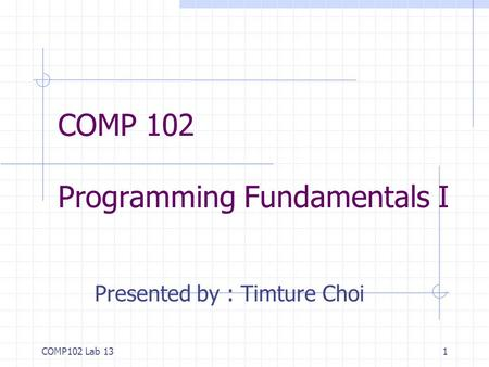 COMP102 Lab 131 COMP 102 Programming Fundamentals I Presented by : Timture Choi.