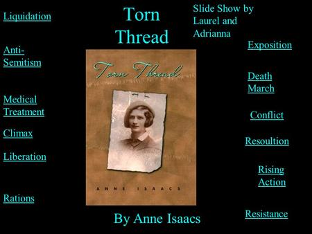 Torn Thread By Anne Isaacs Slide Show by Laurel and Adrianna Rations Death March Liquidation Medical Treatment Anti- Semitism Resistance Exposition Liberation.