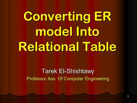 Converting ER model Into Relational Table