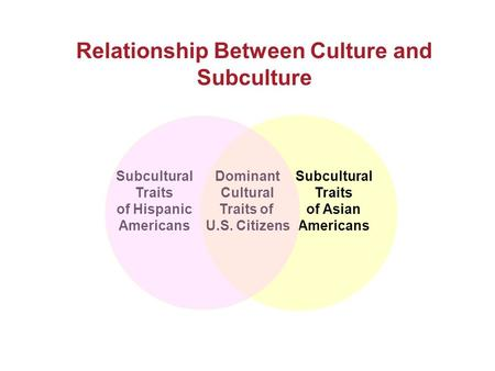 Relationship Between Culture and Subculture Subcultural Traits of Hispanic Americans Dominant Cultural Traits of U.S. Citizens Subcultural Traits of Asian.