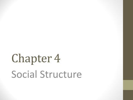 Chapter 4 Social Structure.