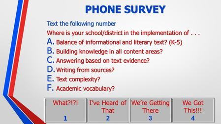 PHONE SURVEY Text the following number Where is your school/district in the implementation of... A. Balance of informational and literary text? (K-5) B.