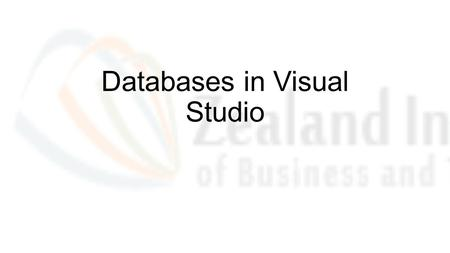 "Databases in Visual Studio. Database in VisualStudio An MS SQL database are built in Visual studio The Name can be something like ""(localdb)\Projects"""