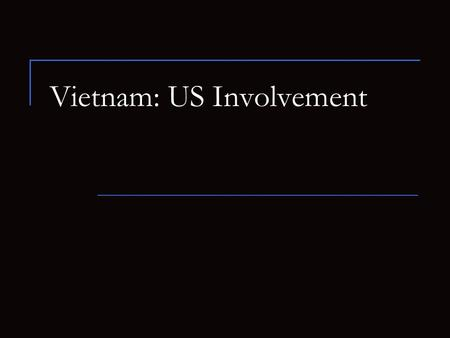 Vietnam: US Involvement. Vietnam's History French Indochina Revolts  Ho Chi Minh – Indochinese Communist Party WWII  Japan  Minh returns to form Vietminh.