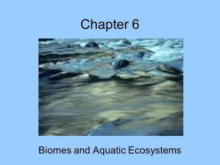 Chapter 6 Biomes and Aquatic Ecosystems.