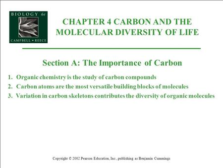 CHAPTER 4 CARBON AND THE MOLECULAR DIVERSITY OF LIFE Copyright © 2002 Pearson Education, Inc., publishing as Benjamin Cummings Section A: The Importance.