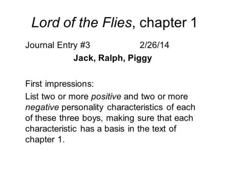 lord of the flies piggy character Lord of the flies: character profiles jack is the leader of the savage tribe which hunts the pigs opposed to ralph and piggy on almost all matters.