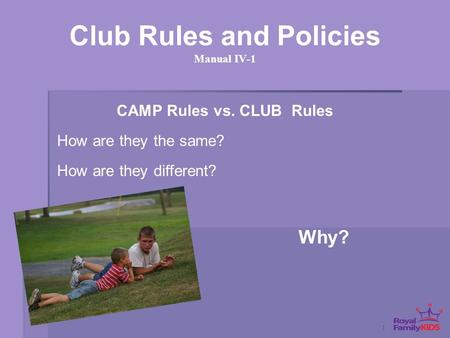 1 Club Rules and Policies Manual IV-1 Why? CAMP Rules vs. CLUB Rules How are they the same? How are they different?