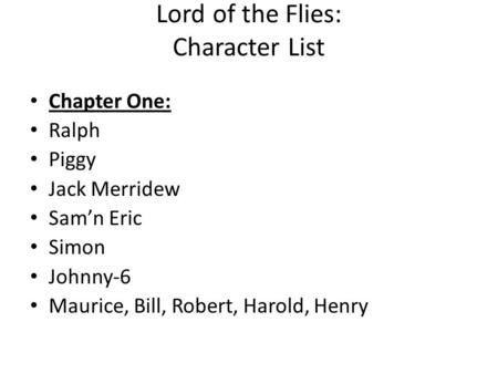 Lord of the Flies: Character List