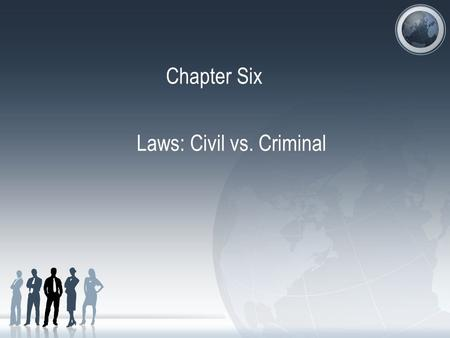 Chapter Six Laws: Civil vs. Criminal. Criminal & Civil Laws Substantive Laws: laws that define our rights and obligations Procedural Laws: laws that dictate.