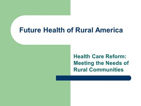 future of rural communities The introduction lays out the beginning context: that a mass exodus has occurred  from rural areas, and why it poses a problem to solve in the introduction, dr.