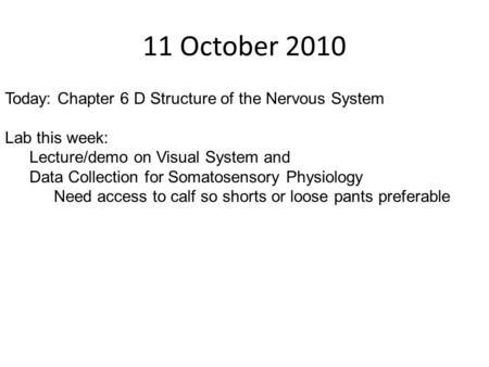 11 October 2010 Today: Chapter 6 D Structure of the Nervous System Lab this week: Lecture/demo on Visual System and Data Collection for Somatosensory Physiology.