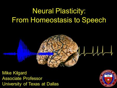 Neural Plasticity: From Homeostasis to Speech Mike Kilgard Associate Professor University of Texas at Dallas.