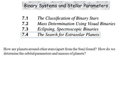 How are planets around other stars (apart from the Sun) found? How do we determine the orbital parameters and masses of planets? Binary Systems and Stellar.