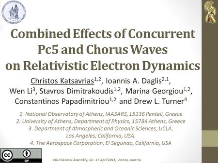 Combined Effects of Concurrent Pc5 and Chorus Waves on Relativistic Electron Dynamics Christos Katsavrias 1,2, Ioannis A. Daglis 2,1, Wen Li 3, Stavros.