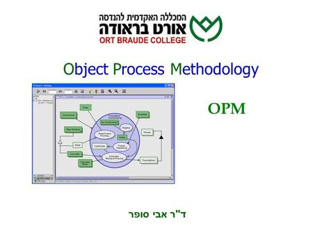 Object Process Methodology OPM ד  ר אבי סופר. ניתוח מערכות מידע 2 OPM Basic Concepts Emphasis Equally balancing static (structure) and dynamic (behavior)