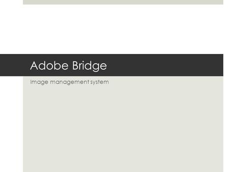 Adobe Bridge Image management system. Used by Photographers to…  Browse, view and organize photos  Import images and batch rename  Organize images.