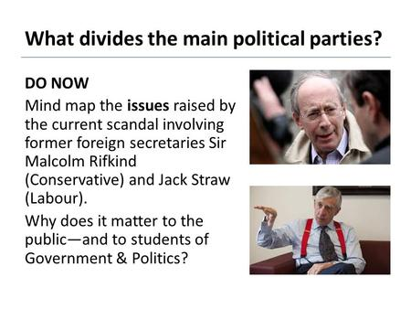 What divides the main political parties? DO NOW Mind map the issues raised by the current scandal involving former foreign secretaries Sir Malcolm Rifkind.