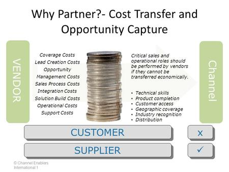 Why Partner?- Cost Transfer and Opportunity Capture Critical sales and operational roles should be performed by vendors if they cannot be transferred economically.