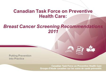 Canadian Task Force on Preventive Health Care: