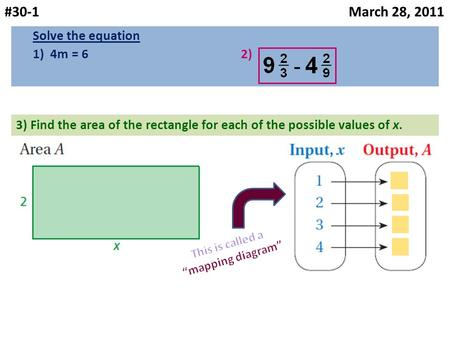 #30-1 March 28, 2011 Solve the equation 1) 4m = 6 2) 3) Find the area of the rectangle for each of the possible values of x.